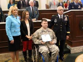 Gov. Mary Fallin State lawmakers honor Oklahoma National Guard Sgt. E. H. Pittman for his actions during the Moore tornado last May during a Tuesday ceremony at the state Capitol.