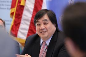 U.S. Department of State legal advisor Harold Koh speaking at a September 28, 2009 press conference at the U.S. Mission to the United Nations in Geneva.