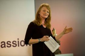 Krista Tippett delivers a TEDTalk at the United Nations TED conference on Charter for Compassion.