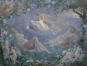 "John Simmons (British, 1823-1876), Scene from ""A Midsummer Night's Dream"", signed and dated 1873, watercolor, 71 x 95cm."