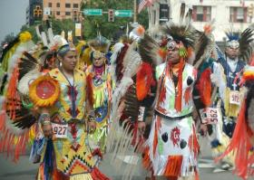 A shot from a recent Red Earth Parade in downtown Oklahoma City.