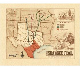 A map of the Western, Shawnee, Chisholm and Goodnight trails.