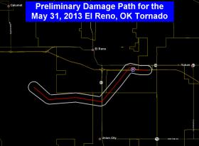 Preliminary tornado track for the May 31, 2013 in El Reno, Oklahoma.