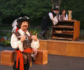Oklahoma Shakespeare in the Park performs on the Water Stage at the Myriad Botanical Gardens.