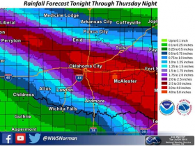 National Weather Service currently thinking in terms of total rainfall amounts tonight through Thursday night.