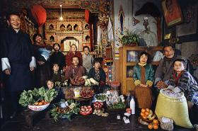 "An image of a family from Bhutan in South Asia featured in Peter Menzel and Faith D'Aluisio's book ""Hungry Planet: What the World Eats""."