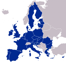 A map of the member states of the European Union.