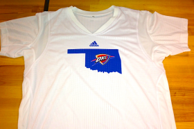 Players for the Oklahoma City Thunder will wear this logo on their uniforms during summer league play to honor tornado victims.