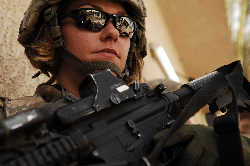 U.S. Army Spc. Rebecca Buck provides perimeter security outside an Iraqi police station in the Tarmiya Province of Iraq, March 30, 2008.