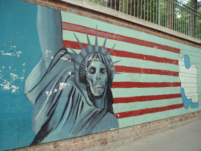 A painting on the walls of the former U.S. embassy in Tehran