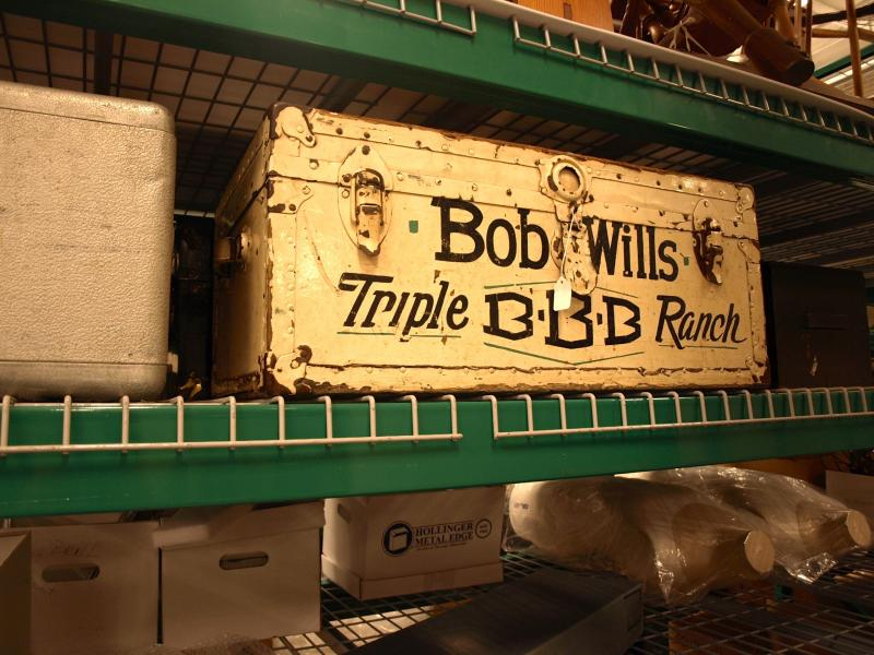 A trunk that Bob Wills used when traveling to his shows.