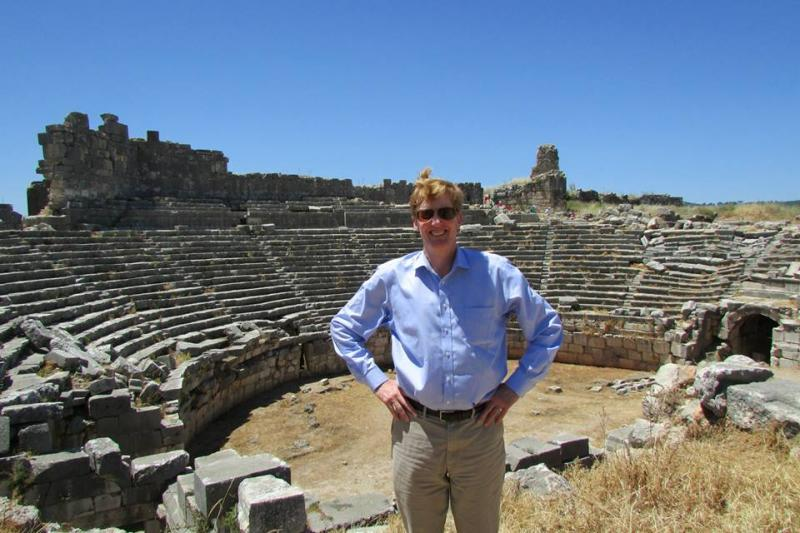 "KGOU ""World Views"" Contributor Joshua Landis at the amphitheater at the Shrine of the Goddess Leto at Letoon, where the Lycian Federation celebrated its national festivals. It later became a center of Christian worship."