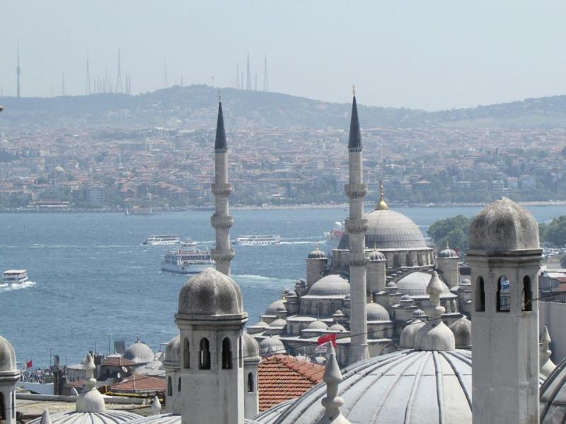 The Golden Horn and Bosporus from the Suleiman Mosque, Istanbul.