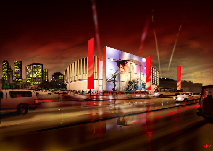 An artist's rendering of the proposed Oklahoma Museum of Popular Culture (OKPOP) in Tulsa.