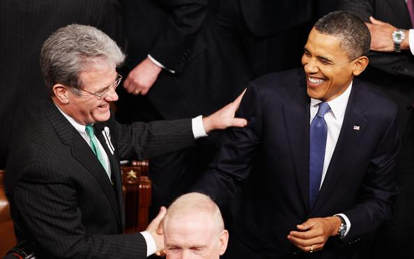Sen. Tom Coburn (R-Okla.) greeting President Barack Obama.