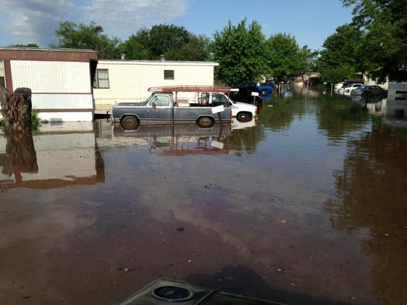 Authorities are evacuating residents from this mobile home park near NE23rd and Air Depot in eastern Oklahoma County.