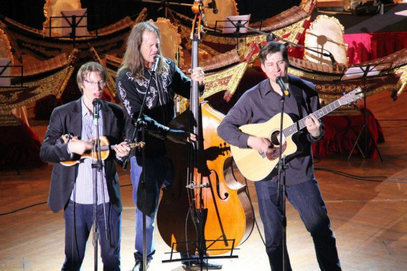 Kyle Dillingham, Brent Saulsbury and Peter Markes take the stage in Yangon, Myanmar's National Theater.
