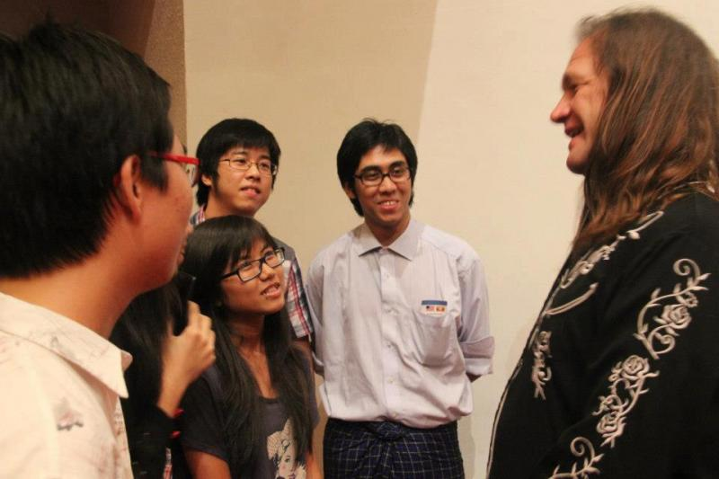 After the concert, members of the audience hung out with Horseshoe Road bassist Brent Saulsbury.