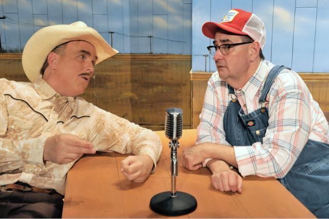"Jonathan Beck Reed and Donald Jordan as radio hosts in ""Greater Tuna."""