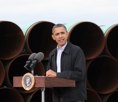 President Obama speaking in Cushing, Oklahoma in March 2012.