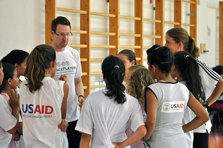 Oklahoma City Thunder General Manager Sam Presti meets with PeacePlayers International campers in Tel Aviv, Israel