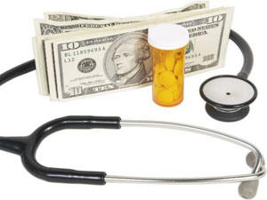 a stack of dollar bills with a stethoscope and bottle of pills