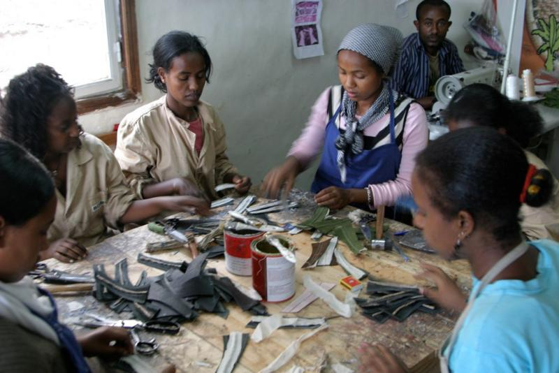 Workers at Sole Rebels, a fair trade company in Ethiopia.