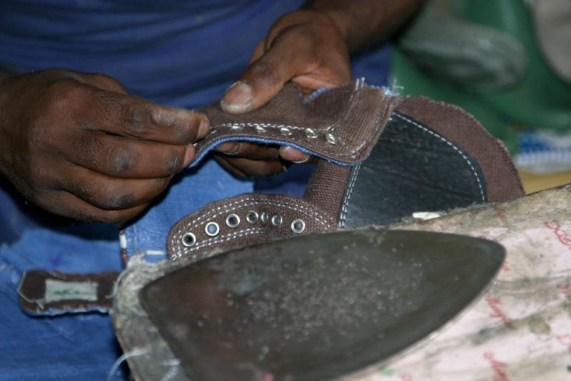 A worker at Sole Rebels in Ethiopia.