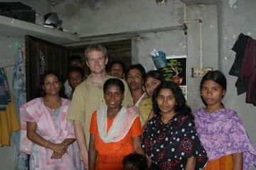 Kelsey Timmerman with garment workers in Bangladesh.