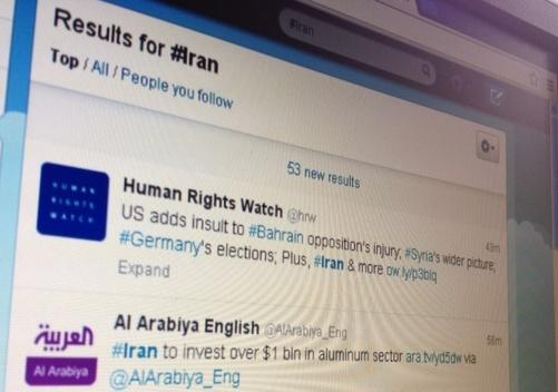 computer screen with Twitter search results for Iran