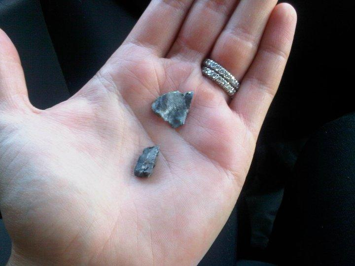 Shrapnel from a Grad rocket fired by Gaza militants into Be'er Sheva, Israel.
