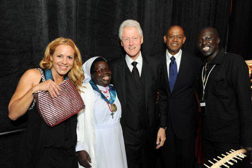 Sister Rosemary Nyirumbe with former president Bill Clinton and actor Forest Whitaker.