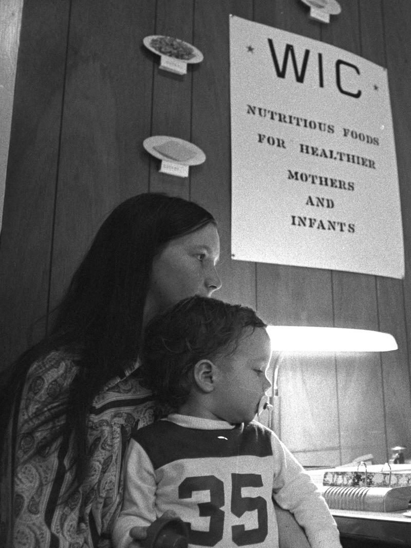 woman and child in a WIC office