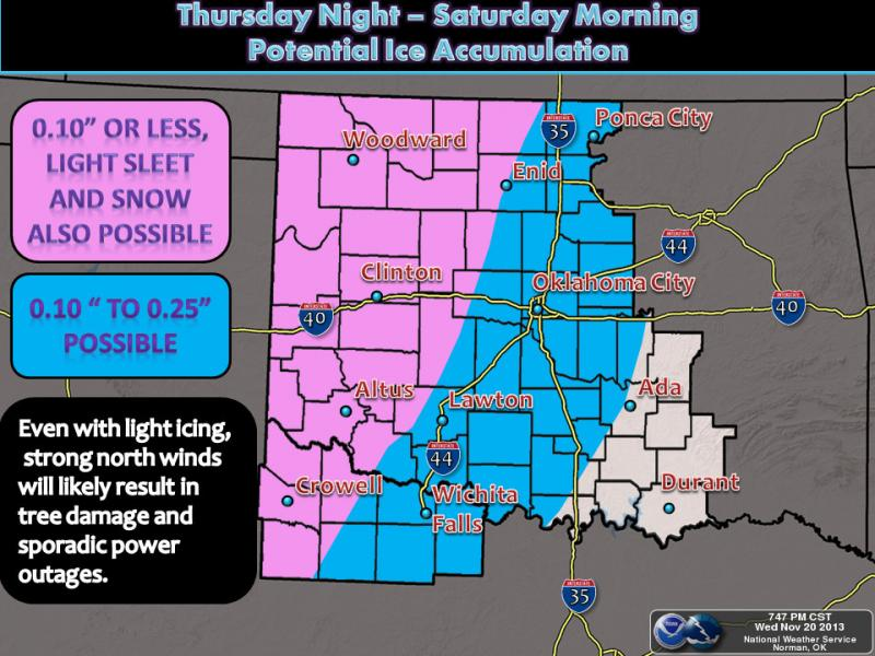 The Norman Forecast Office of the National Weather Service says icing is possible over the next few days.