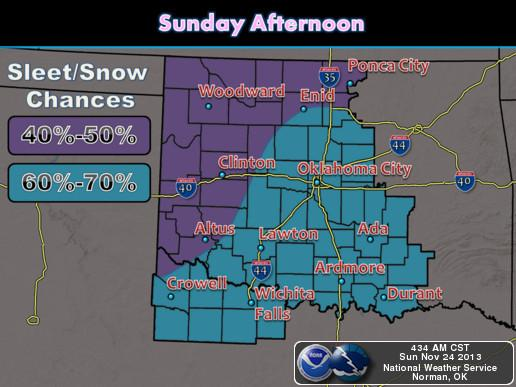 Snow and sleet will continue into Sunday afternoon, with the best chances for accumulations over south central and southwest Oklahoma and western north Texas.