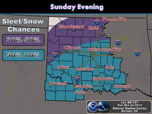 Snow and sleet will continue into Sunday night with the best chances residing over south central Oklahoma and portions of north Texas.