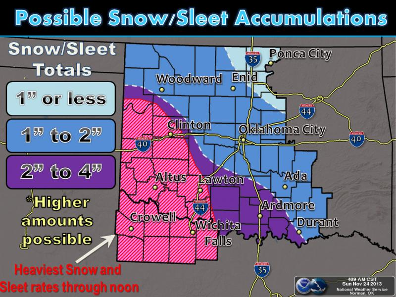 Winter precipitation will move across western and central Oklahoma and adjacent areas of north Texas today and tonight. Currently, it appears parts of western and southern Oklahoma and north Texas will have higher amounts of snow and sleet.