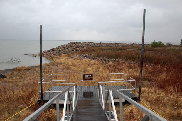 A grounded boat dock at Canton Lake, where Oklahoma City got billions of gallons of water in early 2013.