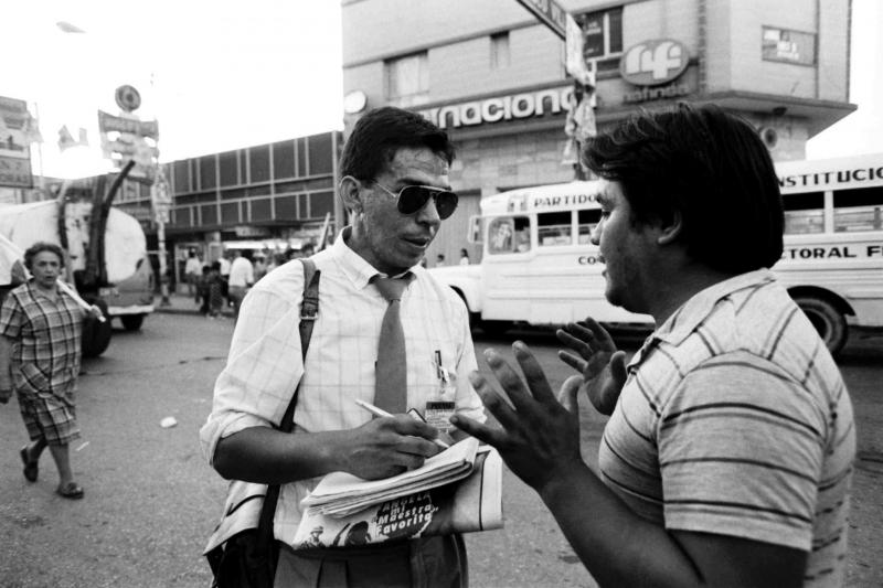 Reporter and author Alfredo Corchado covers a political rally in the border city of Ciudad Juárez, Mexico, in 1986.
