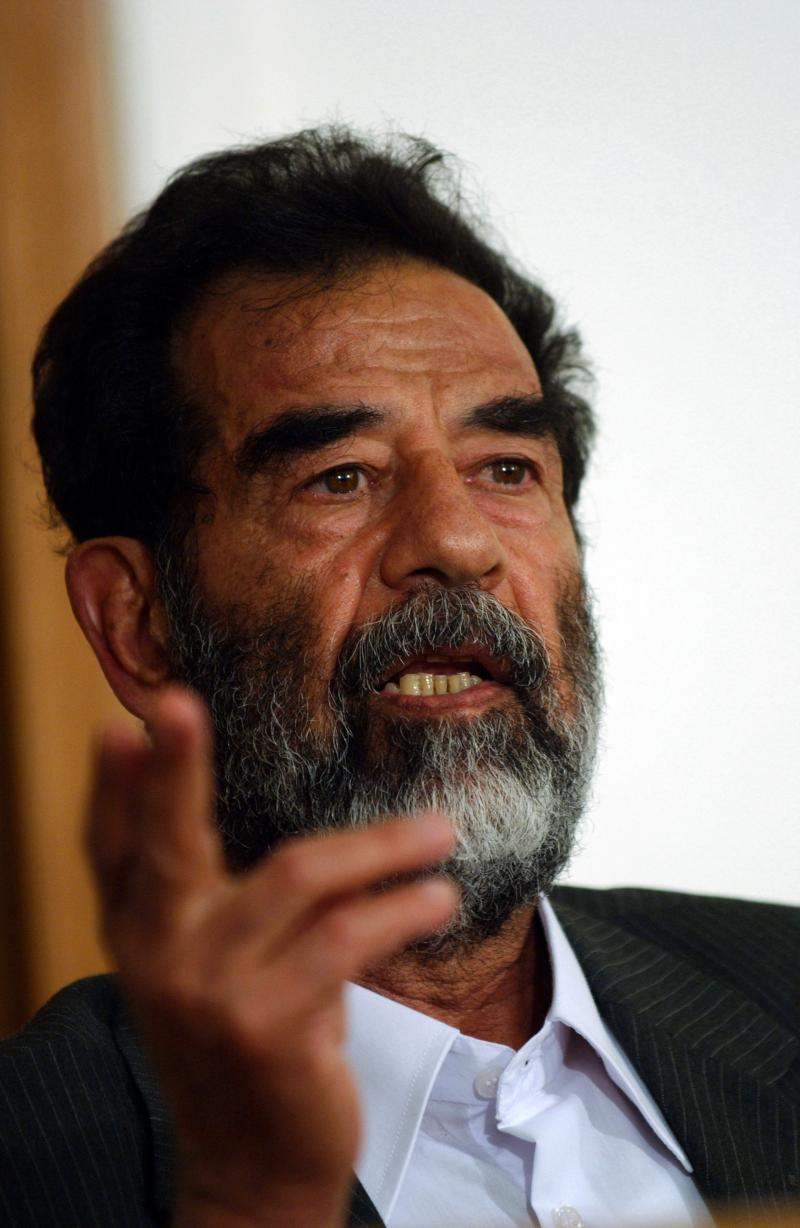 Saddam Hussein speaking at his trial, July 2004.
