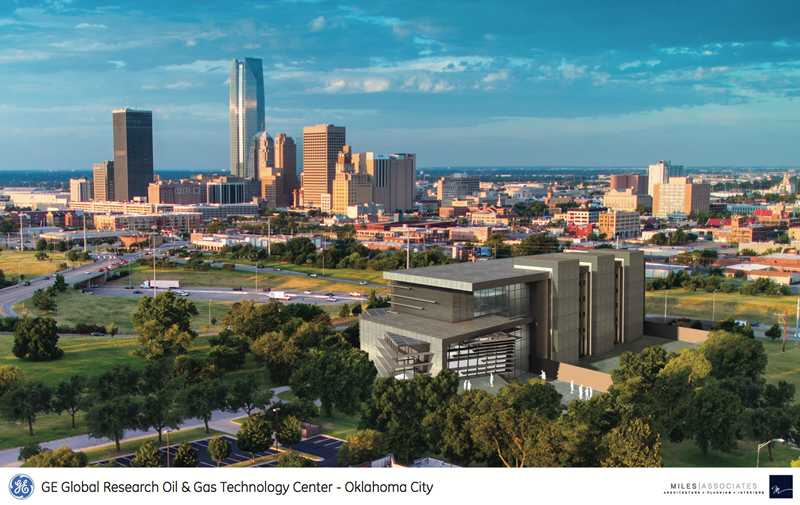A rendering shows a new GE technology center near downtown Oklahoma City. Construction is scheduled to begin April 2014.