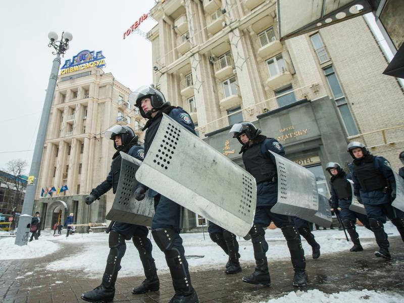 Authorities respond to protesters at Independence Square in December 2013 in Kiev, Ukraine. Mass protest actions started after the president of Ukraine Victor Yanukovych refused the association agreement with the European Union.