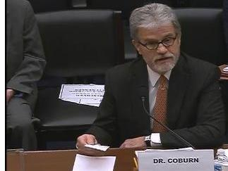 U.S. Sen. Tom Coburn (R-Okla.) testifies before the House Committee on Oversight and Government Reform on January 9, 2014.