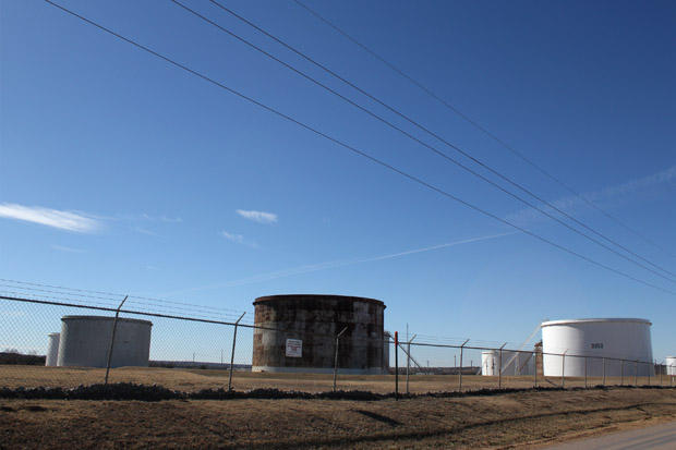 A crude oil tank farm in Cushing, Okla.