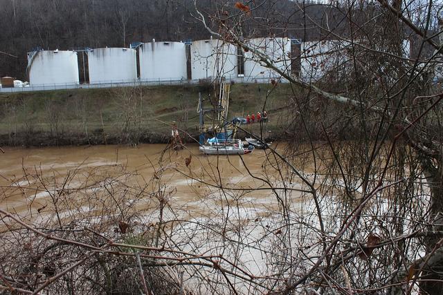 Freedom Industries storage tanks along the Elk River in West Virginia.