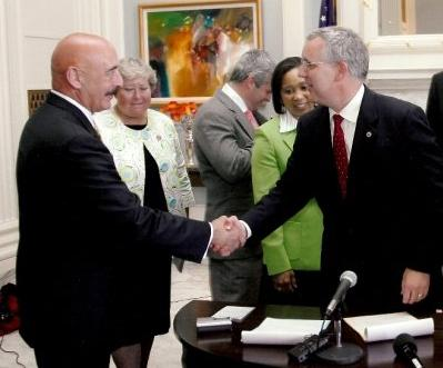 State Rep. Al McAffrey at a bill signing with Gov. Brad Henry - September 13, 2009.