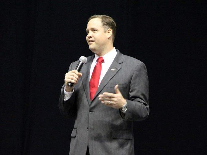 U.S. Rep. Jim Bridenstine (R-Okla.) speaking during a 2013 town hall meeting.
