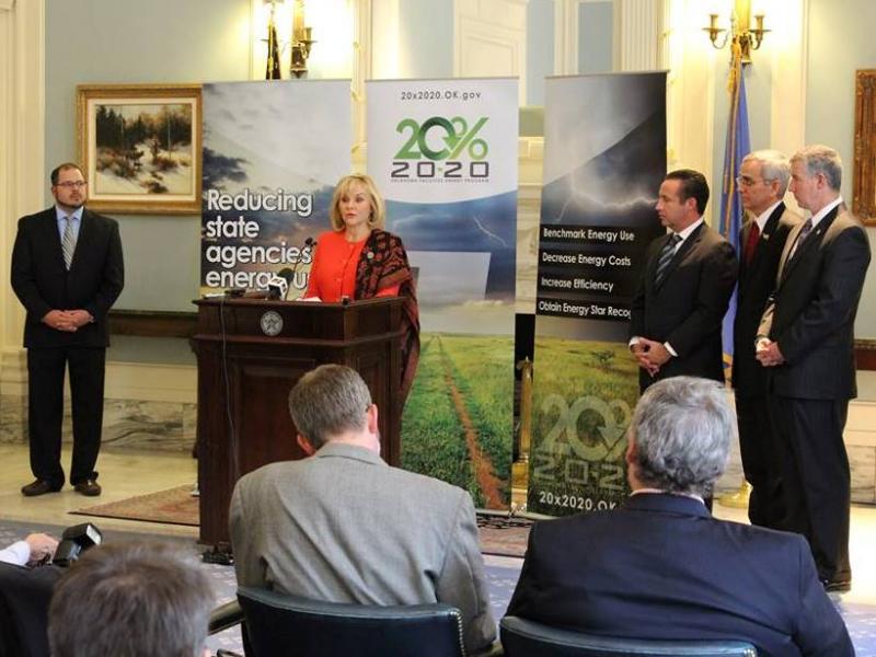 """Gov. Mary Fallin announces the """"20%x2020"""" energy plan January 22, 2014 in Oklahoma City."""