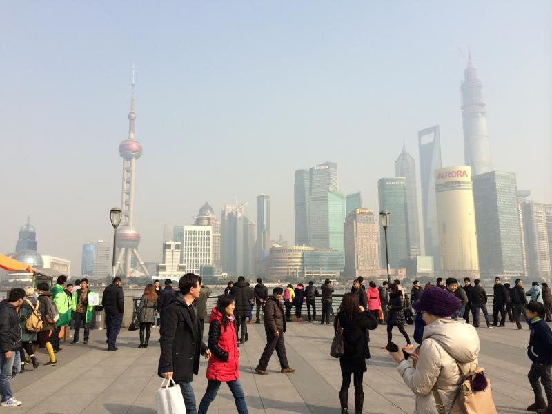 The smoggy skyline of Shanghai.