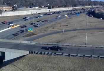 Traffic moves along I-44 just west of a syrup spill that shut down one lane of the highway Wednesday morning.
